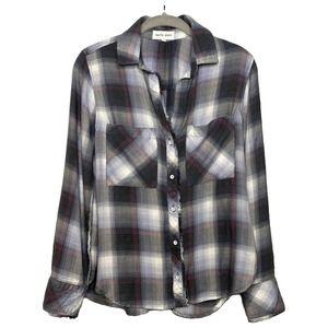 Bella Dahl Women's Plaid Long Sleeve Shirt size XS
